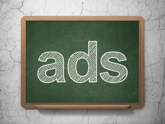 Advertising concept: Ads on chalkboard background Stock Illustration