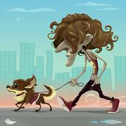 Guy with dog walking on the street Stock Illustration
