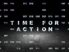 Timeline concept: Time for Action in grunge dark room - stock illustration