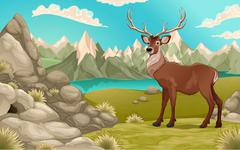 Mountain landscape with deer - stock illustration