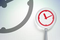 Stock Illustration of Time concept:  Clock with optical glass on digital background