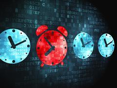 Time concept: Alarm Clock on digital background Stock Illustration