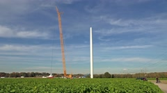 Wind power generator construction  time lapse Stock Footage