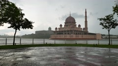 Floating Mosque By The Lake in raining day Stock Footage