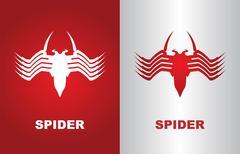 Stock Illustration of spider, white spider, red spider, computer virus