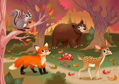 Funny animals in the wood Stock Illustration