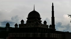 Time lapse of close-up Mosque in silhouette Stock Footage