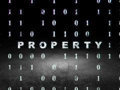 Stock Illustration of Business concept: Property in grunge dark room