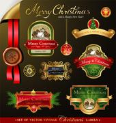 Christmas labels with lovely winter landscape - stock illustration
