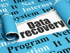 Data concept: black text Data Recovery under the piece of  torn paper - stock illustration