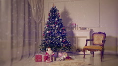 Christmas living room.Falling snow - stock footage