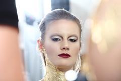 glamour fashion makeup model portrait, gilded body paint - stock photo