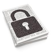 Information concept: Closed Padlock on Newspaper background - stock illustration