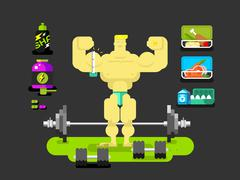 Bodybuilder character flat Stock Illustration