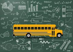 Illustration of yellow school bus with chart and diagrams Stock Illustration
