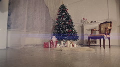Christmas living room. Falling snow. - stock footage