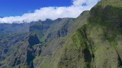 4K aerial view of Mafate mountains in La Reunion Stock Footage