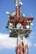 Telecommunication equipment on a television tower - stock photo