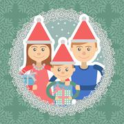 Stock Illustration of Image of  family in round frame on snowflakes background .