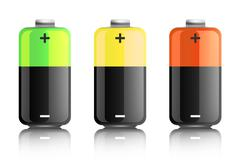Illustration of three colored batteries Stock Illustration