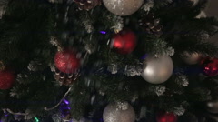 Branch Christmas tree with ornaments. Stock Footage