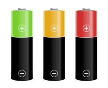 Illustration of three colored batteries Stock Illustration
