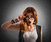 Amazed expression Stock Photos