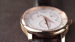 Luxury golden watch close up dolly shot Stock Footage