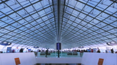 4K airport timelapse - passengers boarding in the planes Stock Footage