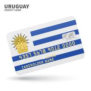 Credit card with Uruguay flag background for bank, presentations and business Stock Illustration