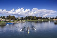 Training rowing on the lake Jarun Stock Photos