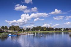 Training rowing on the lake Jarun - stock photo
