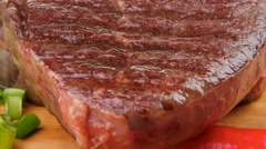 Savory : grilled juicy beef steak served with hot cayenne pepper Stock Footage