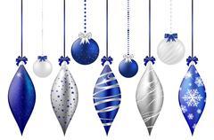 Set of shiny christmas balls on white background - stock illustration