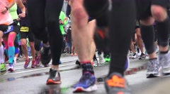 Stock Video Footage of California Marathon 2015,  leg and feet approaching