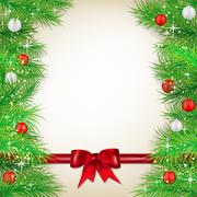 Christmas background with bow, balls and spruce twigs Stock Illustration