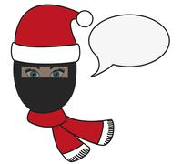 Stock Illustration of olated illustration of religious fusion - girl in burqa in christmas apparel