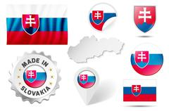 Stock Illustration of Set of flags, maps etc. of Slovakia - isolated on white