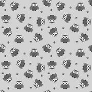 Stock Illustration of Seamless cartoon owl pattern in greyscale