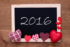 Blackboard With Textile Hearts, Text 2016 - stock photo