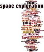 Space exploration word cloud Stock Illustration