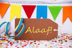 Label With Party Decoration, Text Alaaf Means Carnival - stock photo