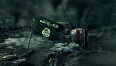 ISIS flag on the post-apocalyptic background. - stock footage