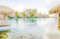 Defocused background with Overwater Bungalows in French Polynesia - stock photo