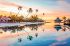 Defocused background of Tropical Sunset in French Polynesia Stock Photos