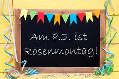 Chalkboard With Party Decoration, Text Rosenmontag Means Carnival - stock photo