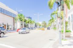 Defocused background of Rodeo Drive shopping district in Beverly Hills Stock Photos