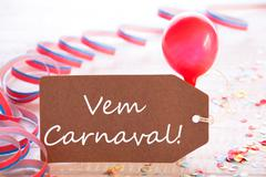Party Label With Streamer, Balloon, Text Vem Carnaval Means Carnival - stock photo