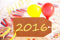 Party Label, Streamer And Balloon, Yellow Text 2016 Stock Photos