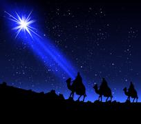 The three wise men of the star Stock Illustration